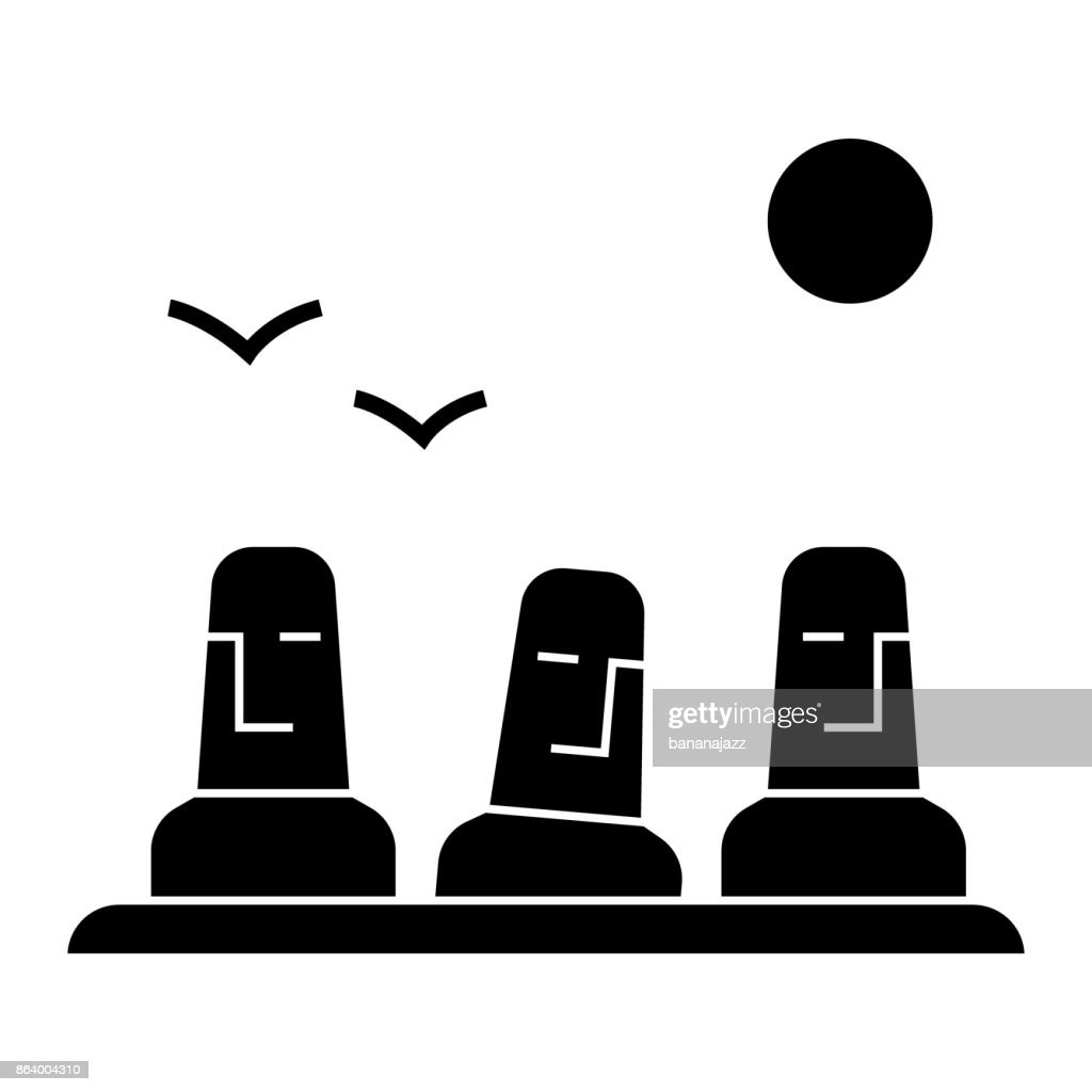 monolith, megalith, easter land  icon, vector illustration, sign on isolated background