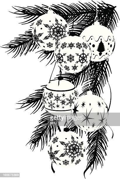 Einfarbige Grafik-Weihnachten Kugeln Corner