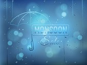 Monsoon offer and sale background  with water drops on window