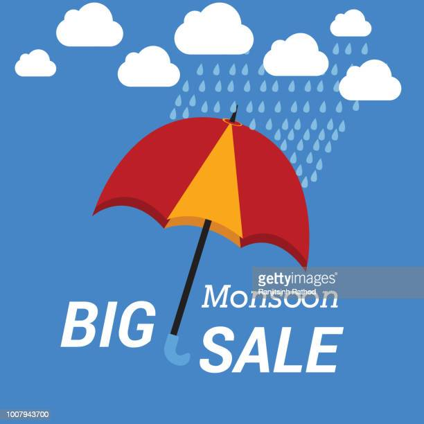 monsoon offer and sale banner, flyer or poster - monsoon stock illustrations, clip art, cartoons, & icons