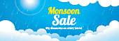 Monsoon Sale with Big Discount Offer. Creative banner with clouds and rain.