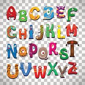 Monster alphabet on transparent background