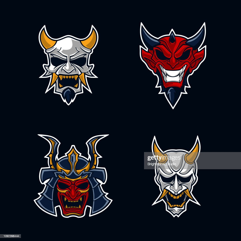 Monster and mask sticker concept