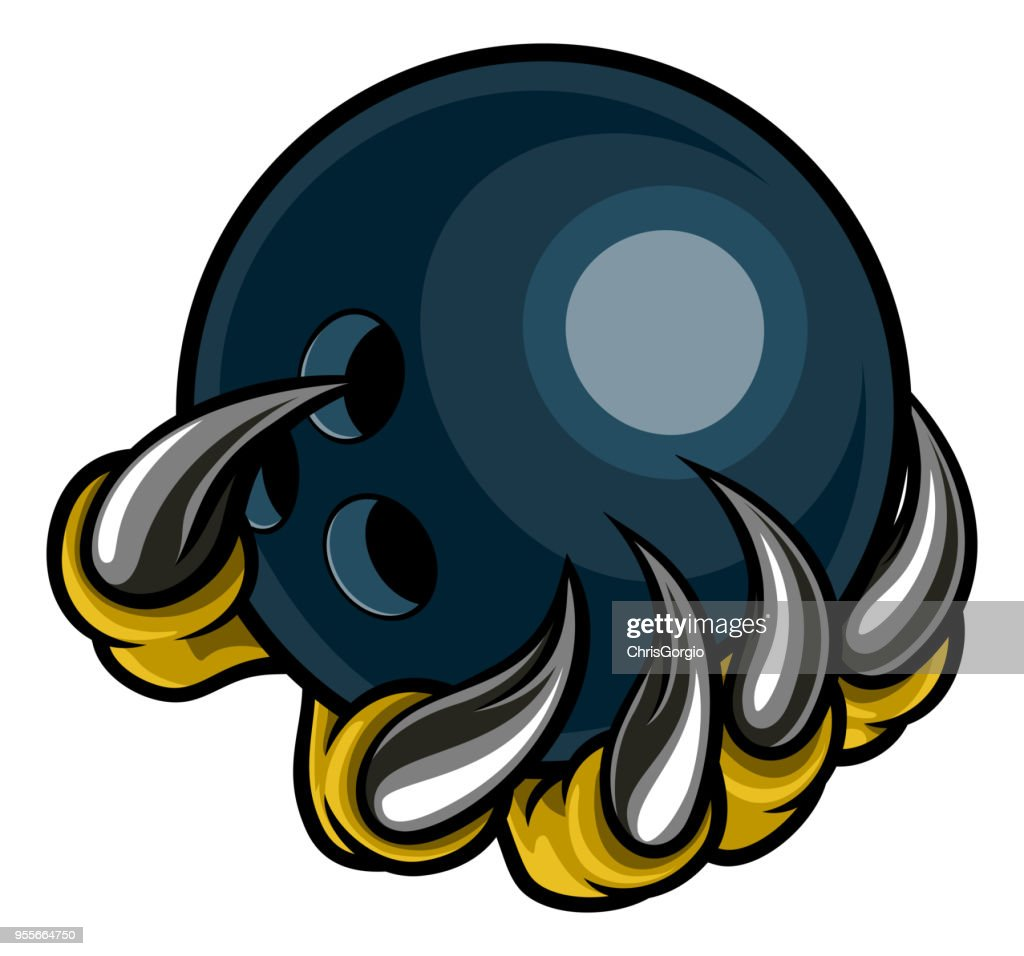 Monster animal claw holding Ten Pin Bowling Ball