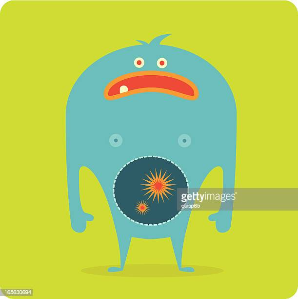 monster bellyache - stomach pain stock illustrations, clip art, cartoons, & icons