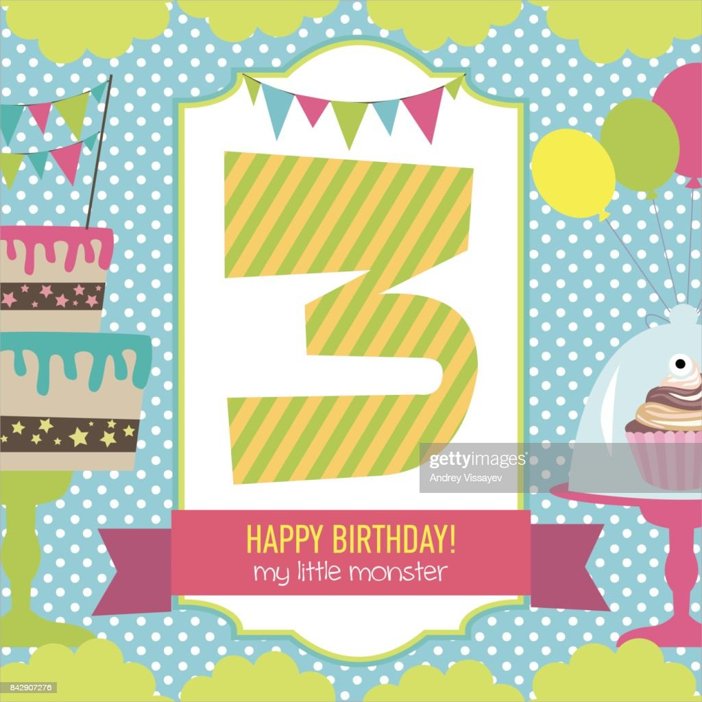 monster birthday party invitation card vector art getty images
