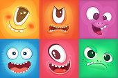 Monster cartoon faces. Demon smiles and big crazy mouth. Vector pictures