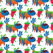 Monster character vector funny design humour emoticon fantasy monsters unique expression crazy animals seamless pattern background illustration