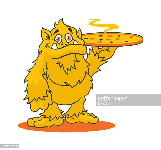stockillustraties, clipart, cartoons en iconen met monster karakter met hete pizza - vector mascotte voor pizzeria - frische