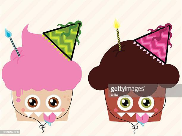 monster cupcakes - animal saliva stock illustrations, clip art, cartoons, & icons