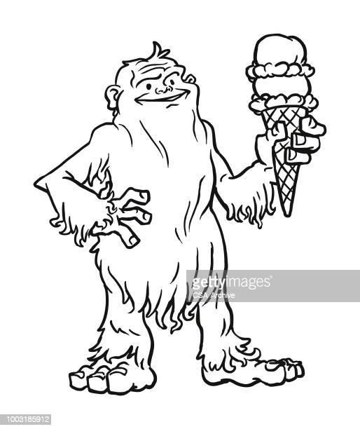 ilustraciones, imágenes clip art, dibujos animados e iconos de stock de monstruo comiendo un cono de helado - scoop shape
