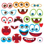 Monster eye and mouth vector illustration