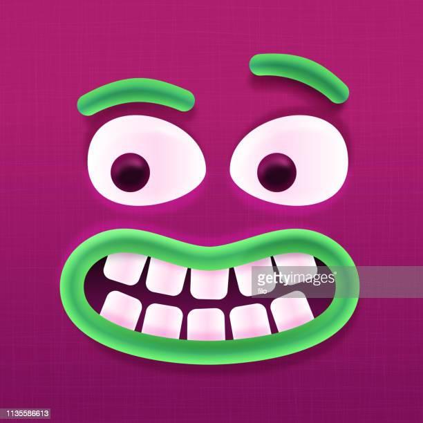 monster face - monster fictional character stock illustrations