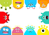 Monster frame. Cute cartoon scary character set. Different emotion. Baby collection. White background Isolated. Happy Halloween card. Flat design.