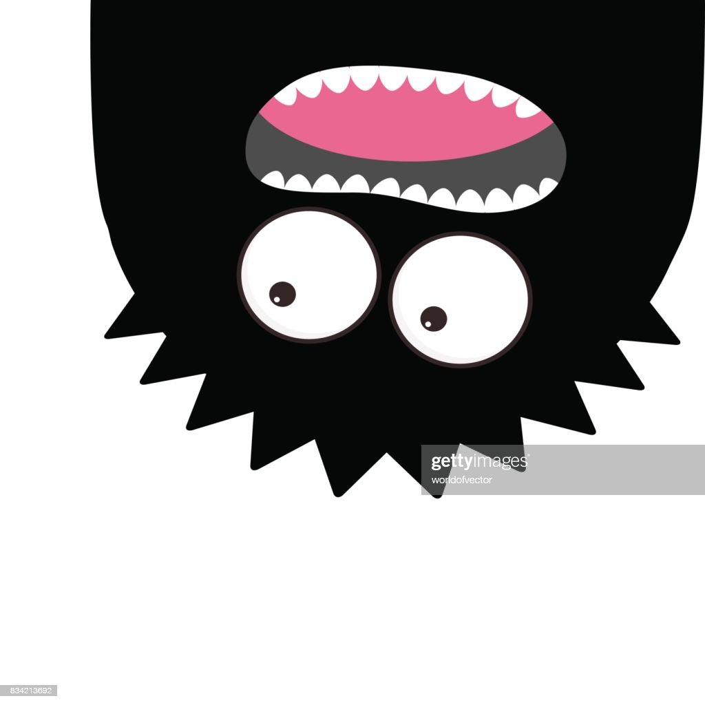Monster head silhouette. Two eyes, teeth, tongue. Hanging upside down. Black color Funny Cute cartoon character. Baby collection. Happy Halloween card. Flat design White background