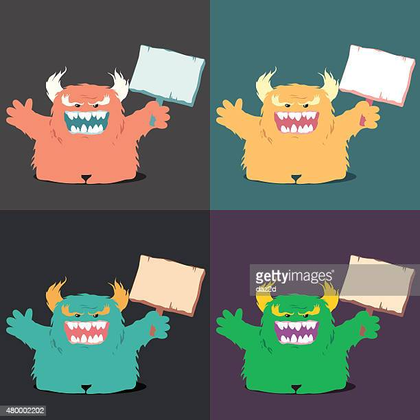 Monster Holding A Sign Set