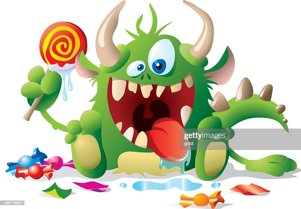 Monster kid with candies : stock illustration