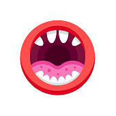 Monster mouth with teeth. Mouth with emotions, teeth, tongue, lips