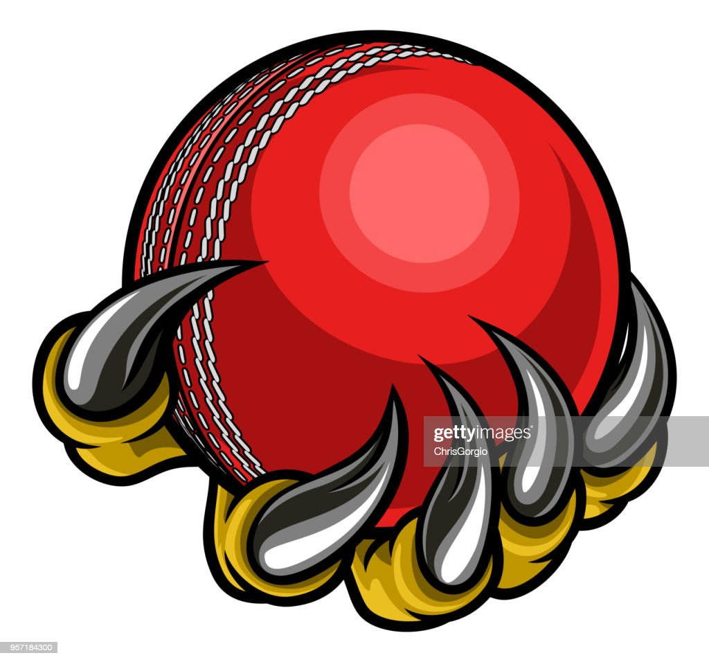 Monster or animal claw holding Cricket Ball