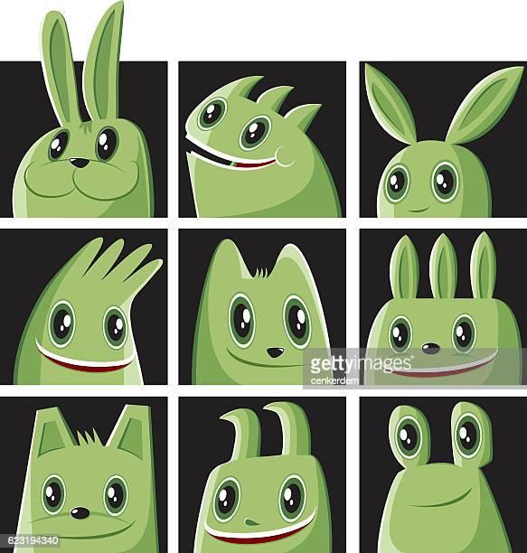 monster set and a rabbit - genetic mutation stock illustrations