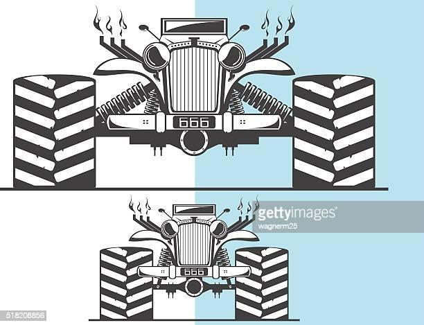 ilustraciones, imágenes clip art, dibujos animados e iconos de stock de monster camión y otras variaciones - monstertruck