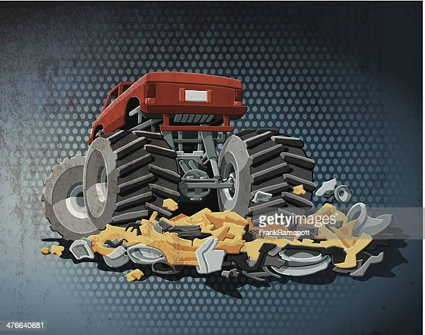 monster truck grunge color - tire vehicle part stock illustrations, clip art, cartoons, & icons