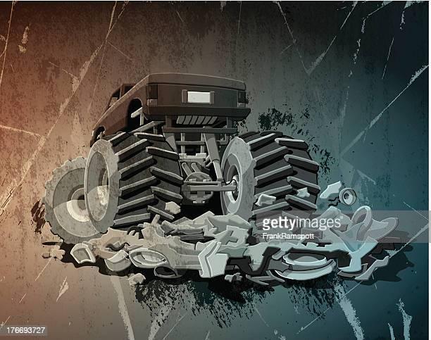 ilustraciones, imágenes clip art, dibujos animados e iconos de stock de monster truck grunge - monstertruck