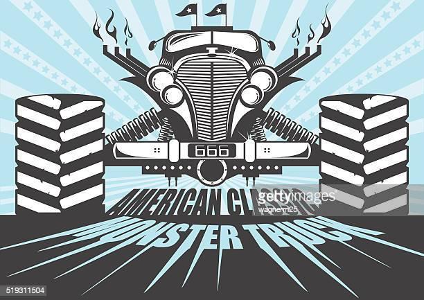 ilustraciones, imágenes clip art, dibujos animados e iconos de stock de monster camión póster - monstertruck