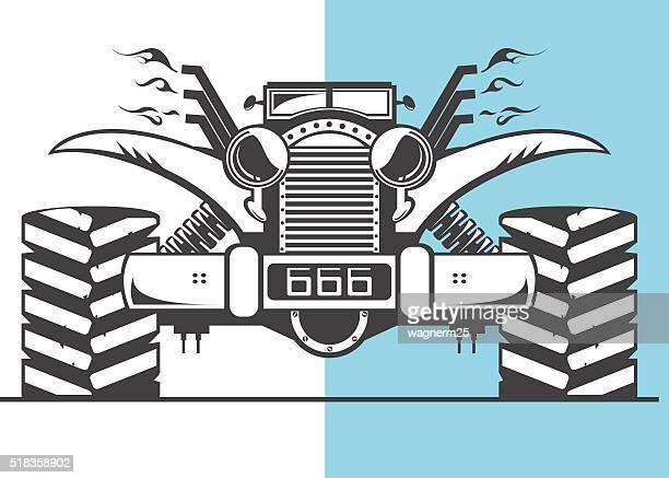 ilustraciones, imágenes clip art, dibujos animados e iconos de stock de monster camión listo para acción - monstertruck