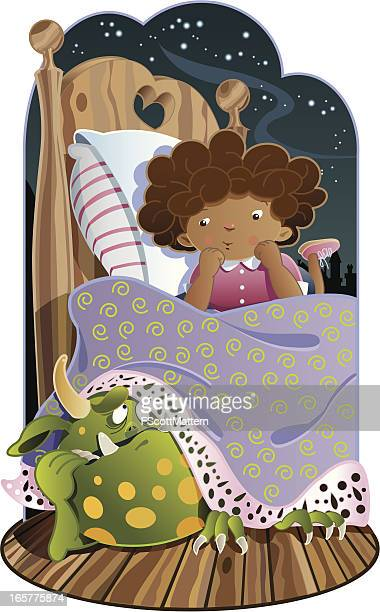 monster under the bed - one girl only stock illustrations, clip art, cartoons, & icons