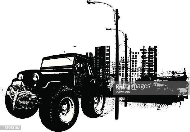 ilustraciones, imágenes clip art, dibujos animados e iconos de stock de monster urbana 4 x 4 - monstertruck