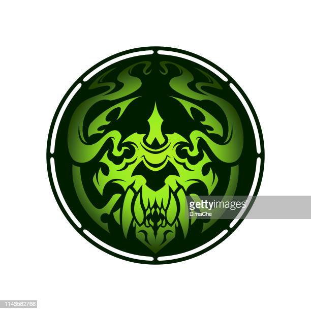 monster vaper face character in smoke - stylized vaping mascot for vape shop - electronic cigarette stock illustrations, clip art, cartoons, & icons