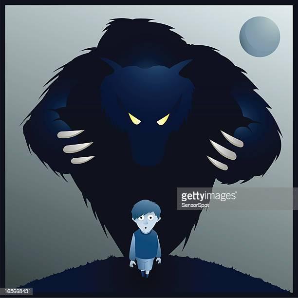 ilustrações de stock, clip art, desenhos animados e ícones de monstro - lobisomem