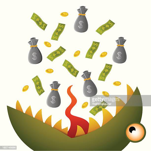 monster - money out the window stock illustrations, clip art, cartoons, & icons