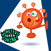 Monsters are coming cartoon vector illustration