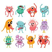 Monsters Cartoon Character With Actions Set