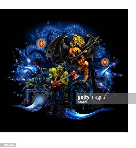 ilustraciones, imágenes clip art, dibujos animados e iconos de stock de monstruos de rock - bajo eléctrico