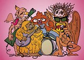 Monsters rock party,hand drawn style
