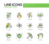 Monsters Sypes - line design icons set