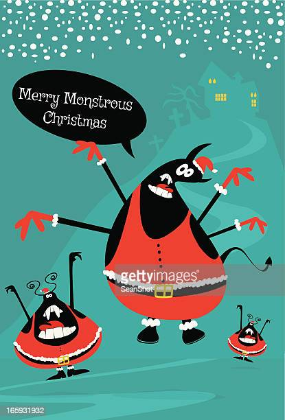 monstrous merry christmas greetings - ugliness stock illustrations, clip art, cartoons, & icons