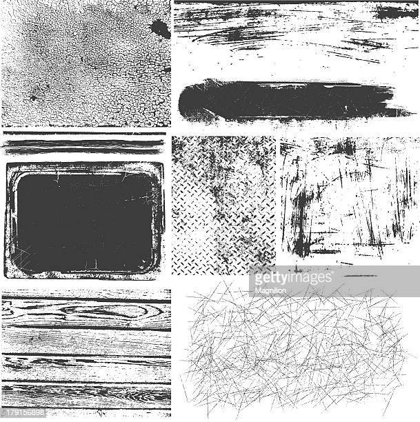 A montage of black and white grunge elements