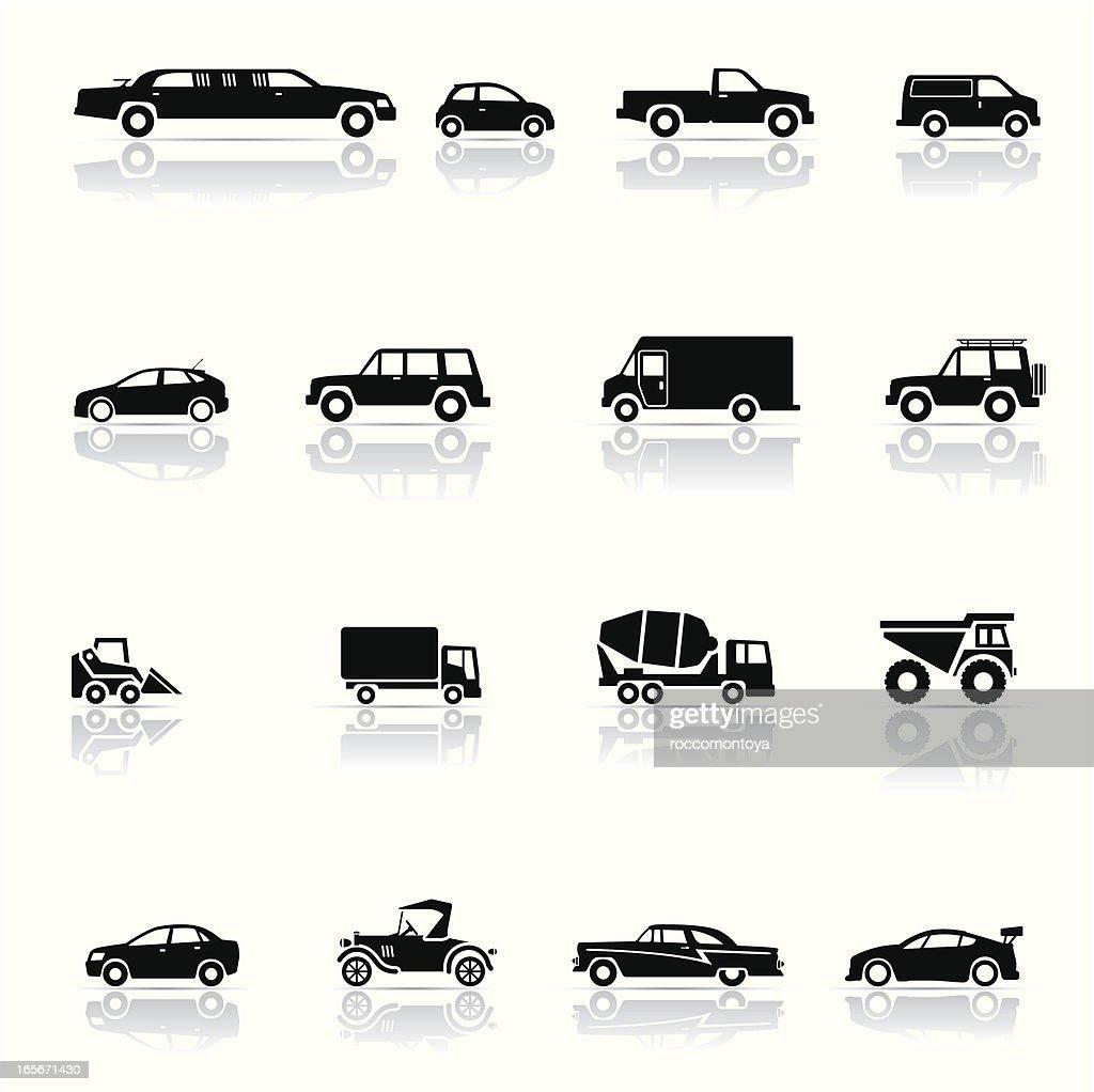 Montage of black and white vehicle icons : stock illustration