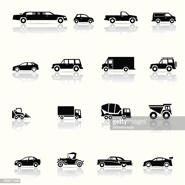 Montage of black and white vehicle icons