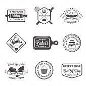 Montage of black and white vintage bakery logos