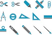 Montage of blue school supplies icons