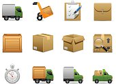 Montage of delivery emojis with boxes and trucks