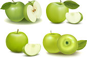 Montage of green apples with pieces cut