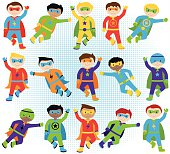 Montage of vector illustrated boy superheroes