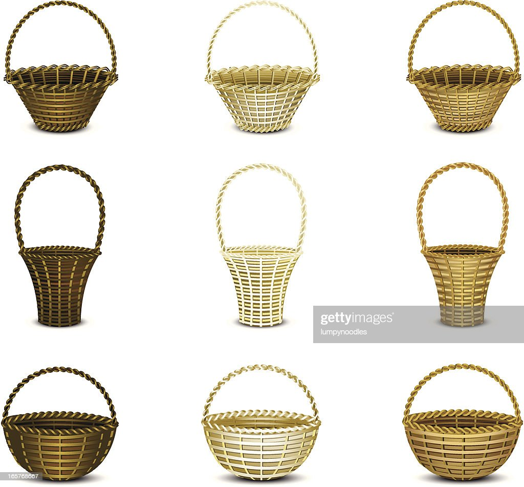 Montage of wicker baskets with a white background