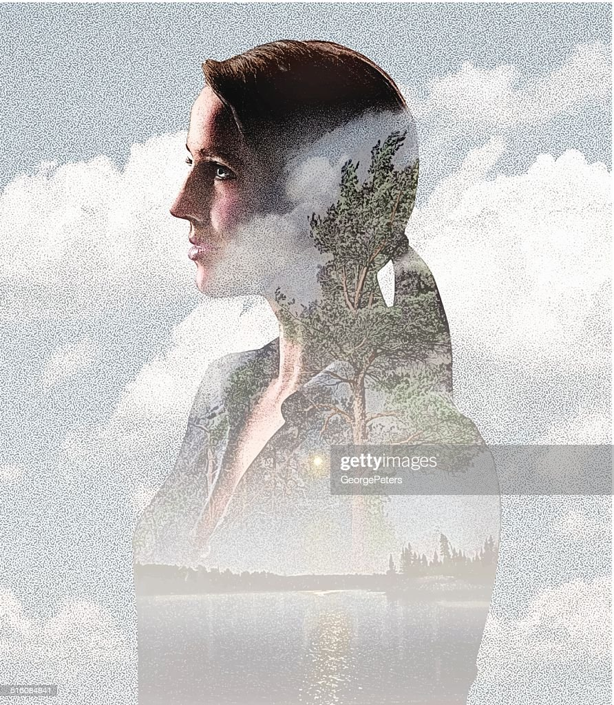 Montage of Woman, Clouds and Nature